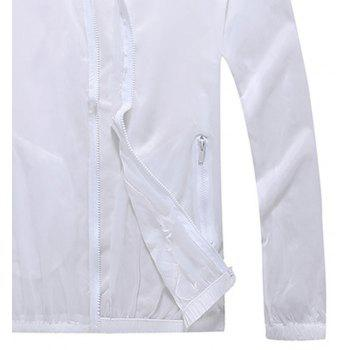 Men and Women Summer Thin Skin Clothes Dry Exercise Sun Protection Jacket - WHITE 3XL