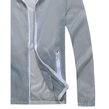 Men and Women Summer Thin Skin Clothes Dry Exercise Sun Protection Jacket - GRAY 3XL
