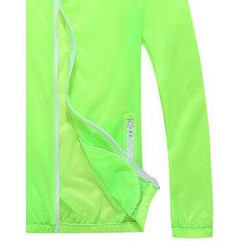 Men and Women Summer Thin Skin Clothes Dry Exercise Sun Protection Jacket - GREEN YELLOW L