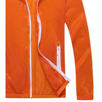 Men and Women Summer Thin Skin Clothes Dry Exercise Sun Protection Jacket - DARK ORANGE XL