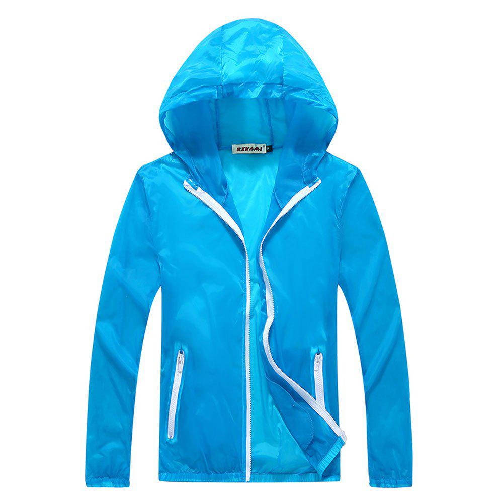 Men and Women Summer Thin Skin Clothes Dry Exercise Sun Protection Jacket - CORAL BLUE L