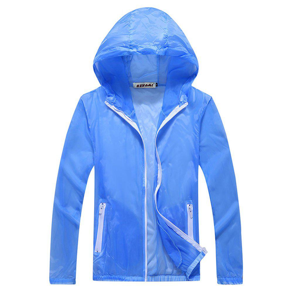 Men and Women Summer Thin Skin Clothes Dry Exercise Sun Protection Jacket - LIGHT BLUE XL