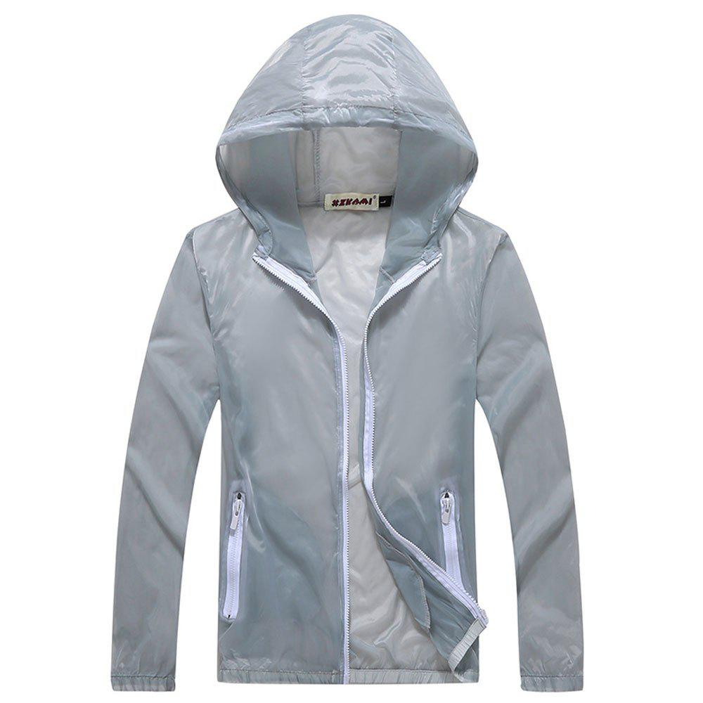 Men and Women Summer Thin Skin Clothes Dry Exercise Sun Protection Jacket - GRAY L
