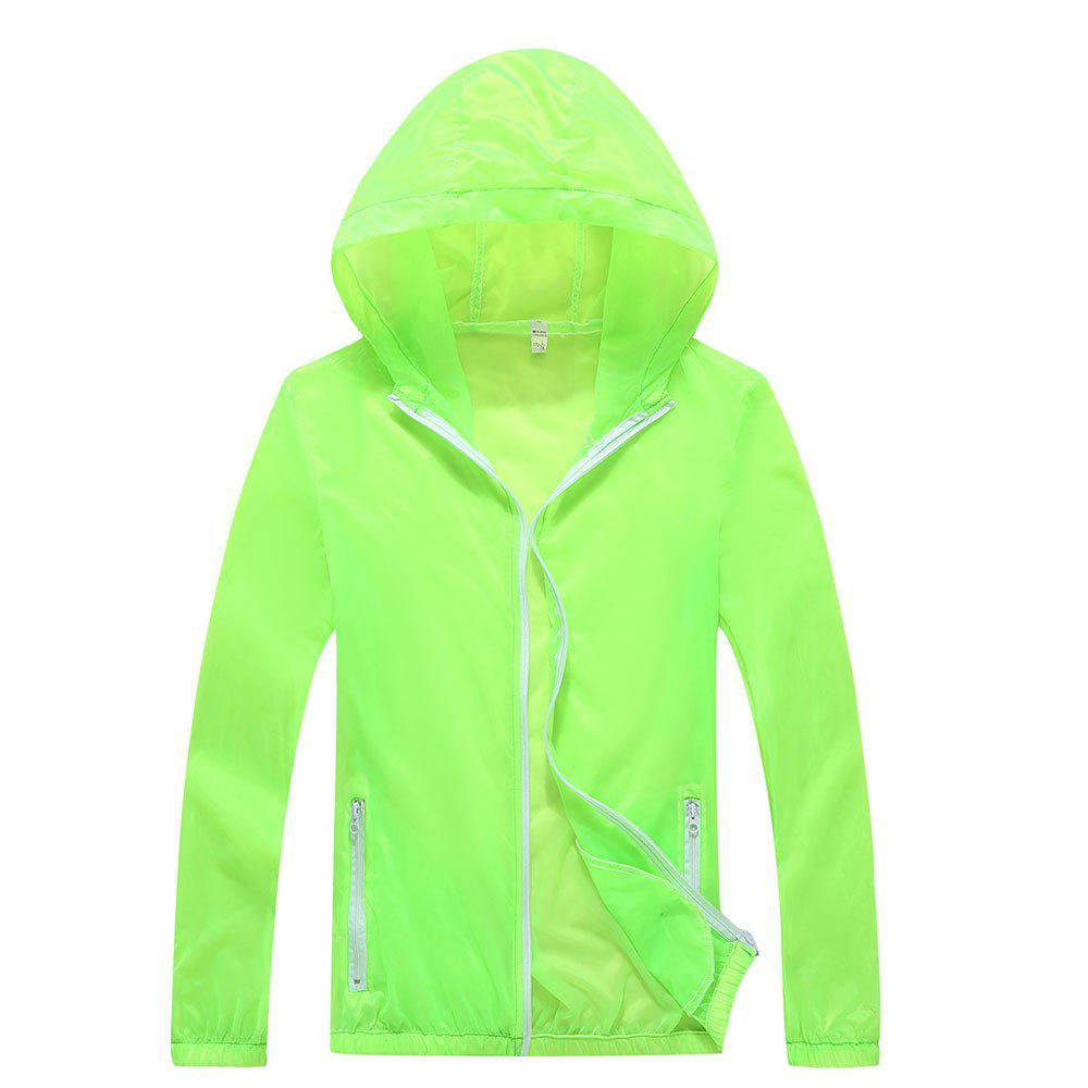 Men and Women Summer Thin Skin Clothes Dry Exercise Sun Protection Jacket - GREEN YELLOW 2XL