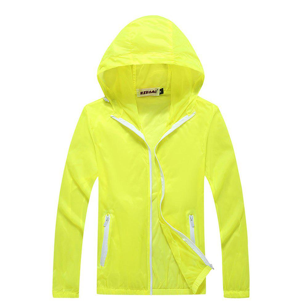 Men and Women Summer Thin Skin Clothes Dry Exercise Sun Protection Jacket - YELLOW L