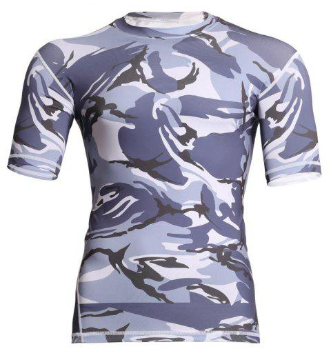 Men's  Sports Camouflage Suit Fast Dry Bullet Compression Tights T-Shirt - GRAY 2XL