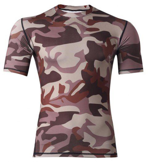 Men's  Sports Camouflage Suit Fast Dry Bullet Compression Tights T-Shirt - BROWN 2XL