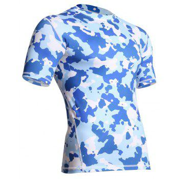 Men's  Sports Camouflage Suit Fast Dry Bullet Compression Tights T-Shirt - BLUE 2XL