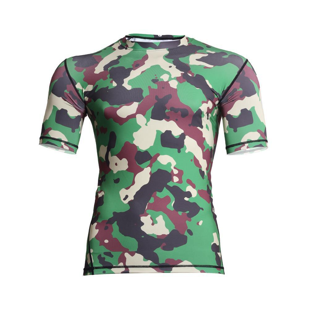 Men's  Sports Camouflage Suit Fast Dry Bullet Compression Tights T-Shirt - GREEN 2XL