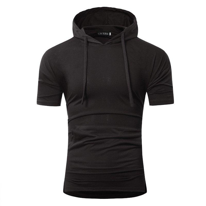 Pure Color Casual Slim Hooded Short-Sleeve T-Shirt балетки norka балетки
