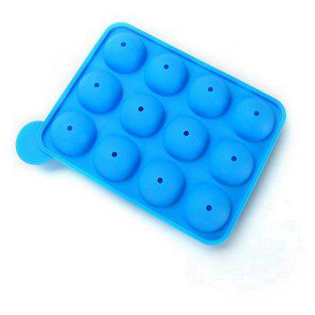 2pcs 12 Silicone Round Lollipop Mold Stick Baking Chocolate Candy Party DIY Tool - DEEP SKY BLUE