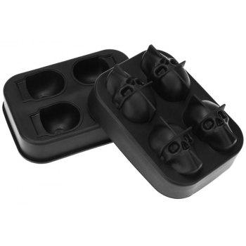 3D Skull Silicone Ice Cube Mold Chocolate Tray with Lid for Whiskey Wine Tool - BLACK