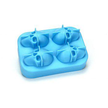 3D Skull Silicone Ice Cube Mold Chocolate Tray with Lid for Whiskey Wine Tool - CRYSTAL BLUE