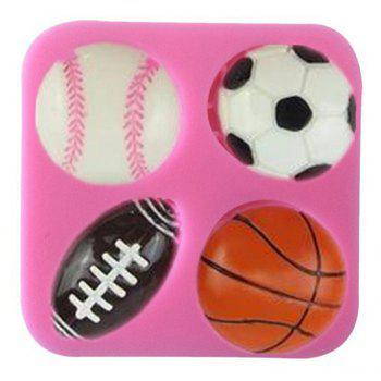 Silicone Ball Mold Football Basketball Rugby Tennis Cake Decorating Tool - PINK