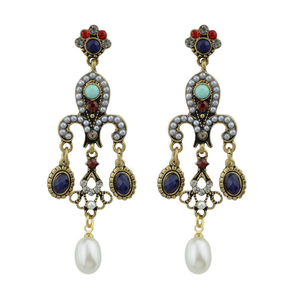 Palace Style Colorful Beads Dangle Earrings - GOLD