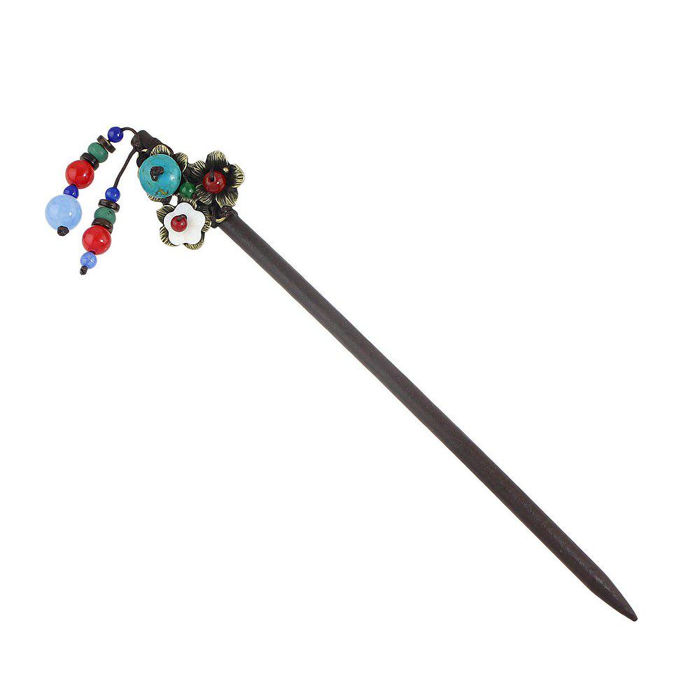 Wood Colorful Beads Flower Hair Sticks - multicolor