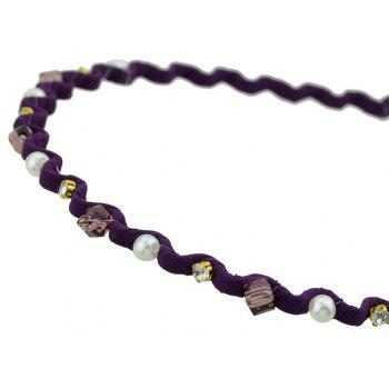 Colorful Ribbon with Drilled Wave Flower Hairbands - PURPLE IRIS