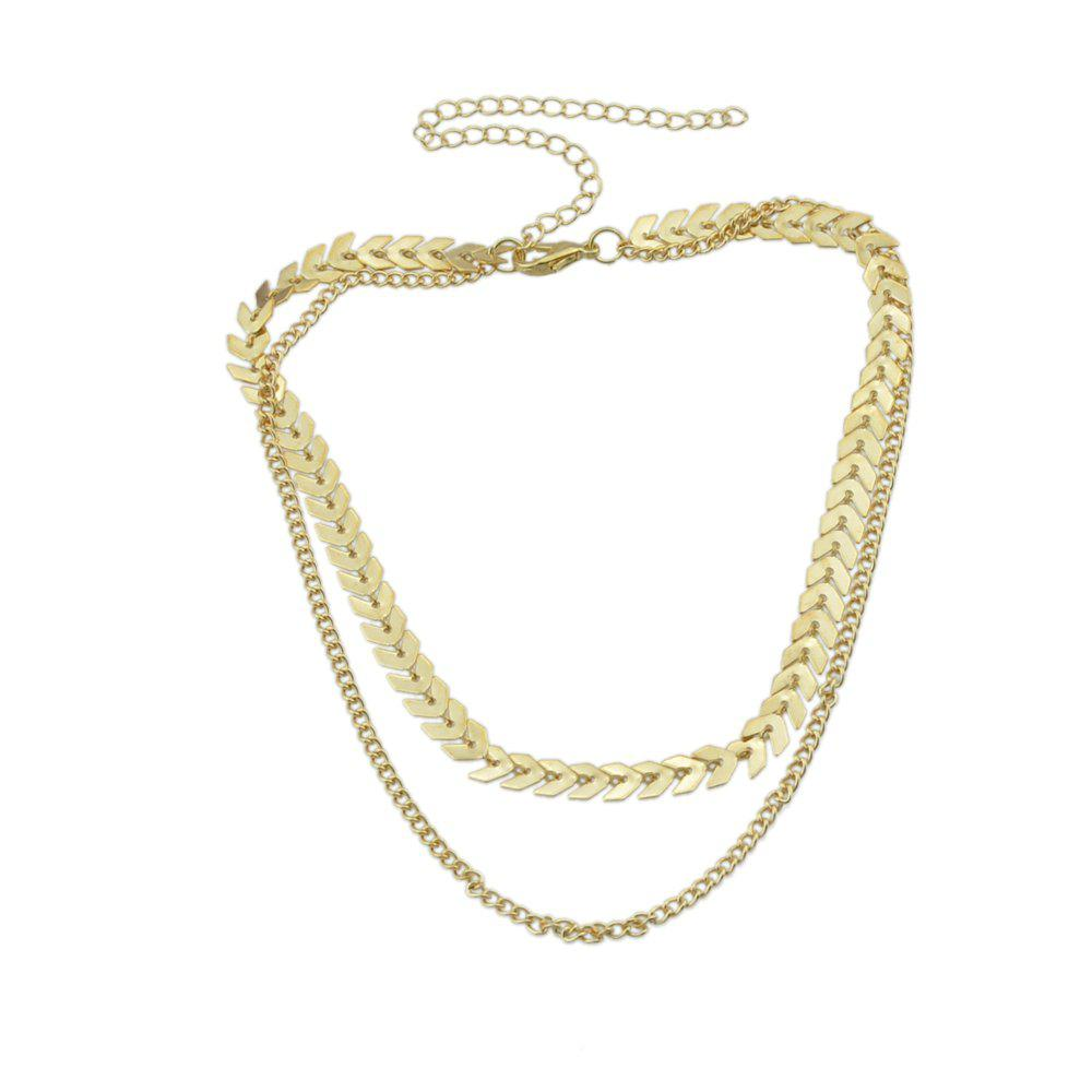 Multi Layer Chain with Fish Bone Short Necklace все цены