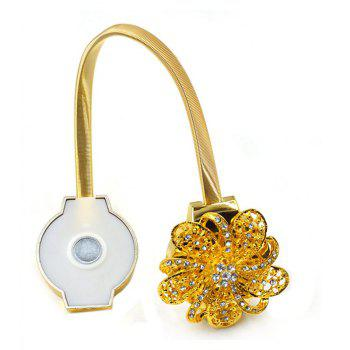 Flower Magnetic Curtain Buckle Rhinestones with Tie Back Straps - GOLD