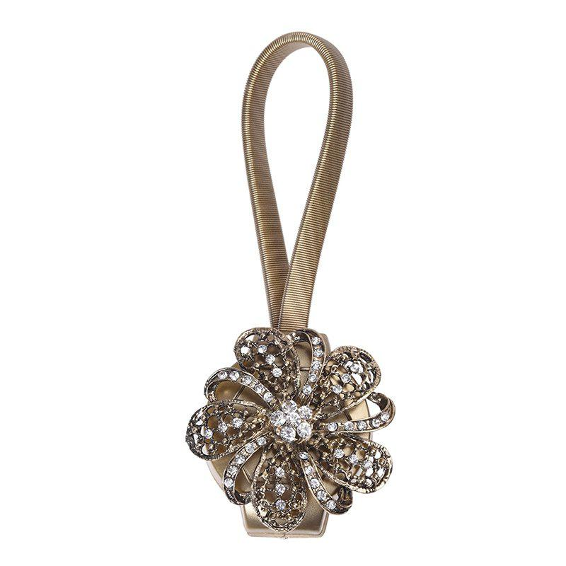 Flower Magnetic Curtain Buckle Rhinestones with Tie Back Straps - COPPER