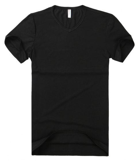 Pure Color V Collar Short Sleeved T - Shirt - BLACK 3XL