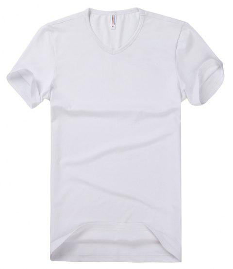 Pure Color V Collar Short Sleeved T - Shirt - WHITE 4XL