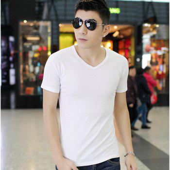 Pure Color V Collar Short Sleeved T - Shirt - WHITE M