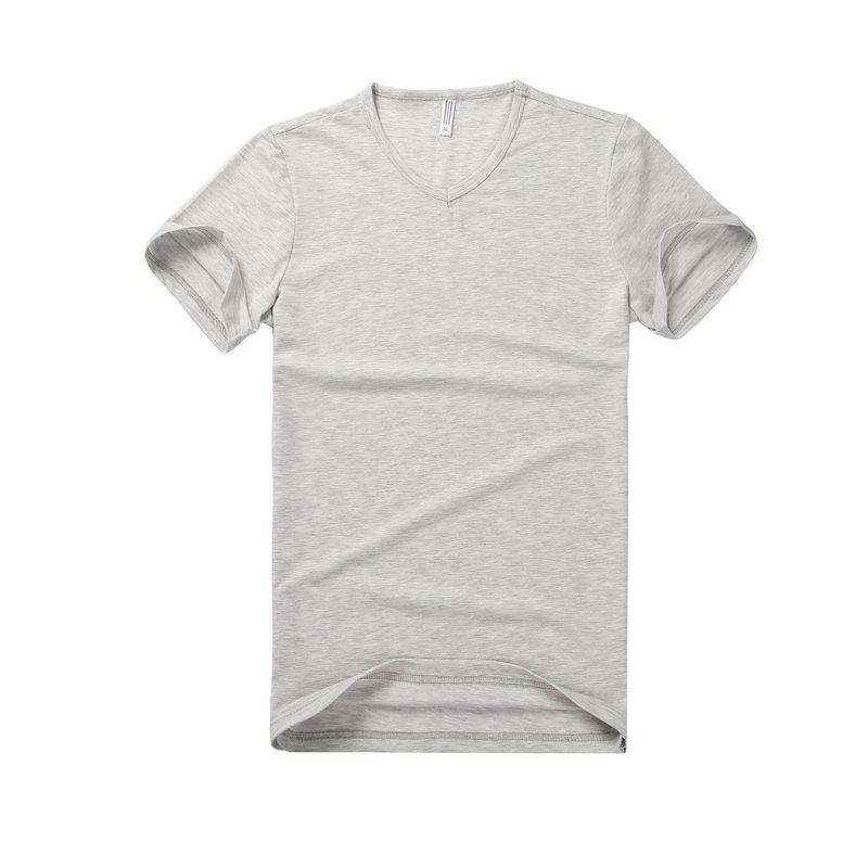 Pure Color V Collar Short Sleeved T - Shirt - LIGHT GRAY XL