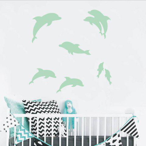 Noctilucent Engraving Adorable Dolphin Cartoon Switch Wall Sticker - DRAGON GREEN