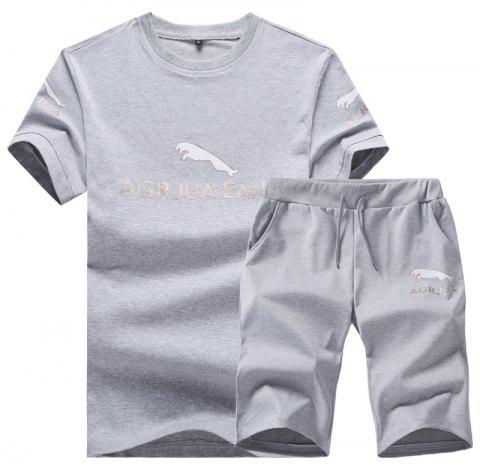 Men Activewear Sets 2Pcs Short Sleeve Brief Style Sports Wear Sets - GRAY XL