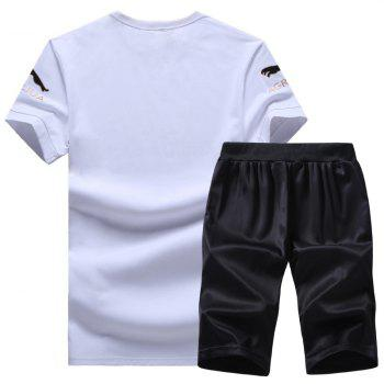 Men Activewear Sets 2Pcs Short Sleeve Brief Style Sports Wear Sets - WHITE 4X
