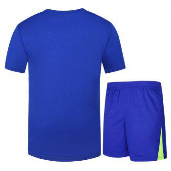 Men Activewear Set Plus Size Casual Comfy Breathable Set - BLUE 2XL