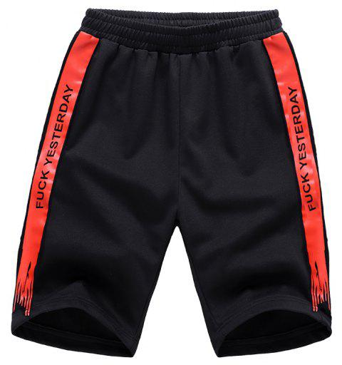 Men Plus Size Casual Shorts All Match Breathable Simple Bottoms Shorts - CHILLI PEPPER L