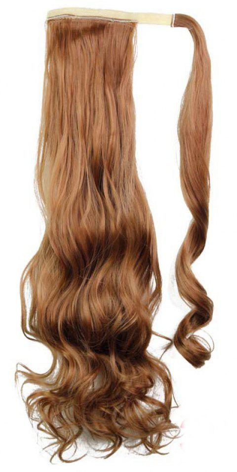Synthetic Wrap Around Ponytail Hairpieces Long Wavy Hair Extension for Girls - MAHOGANY 24INCH