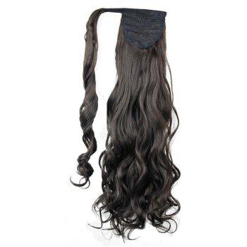 Synthetic Wrap Around Ponytail Hairpieces Long Wavy Hair Extension for Girls - DEEP BROWN 24INCH