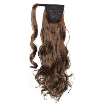 Synthetic Wrap Around Ponytail Hairpieces Long Wavy Hair Extension for Girls - LIGHT BROWN 24INCH
