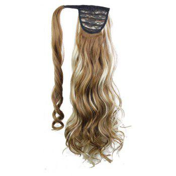 Synthetic Wrap Around Ponytail Hairpieces Long Wavy Hair Extension for Girls - CAMEL BROWN 24INCH