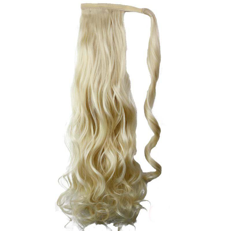 Synthetic Wrap Around Ponytail Hairpieces Long Wavy Hair Extension for Girls 300 400pcs lot candy color elastic hair bands headwear hair ring ropes ponytail holder one off for girls hair accessories