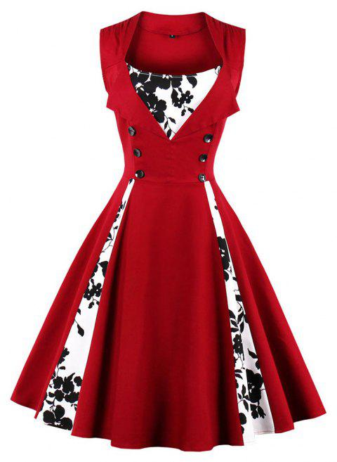 Plus Size Joining Together Vintage Dress - RED WINE 5XL