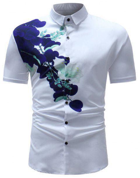 Men's Summer 3D Printed Short Sleeve Unique Flower Shirt - multicolor B L