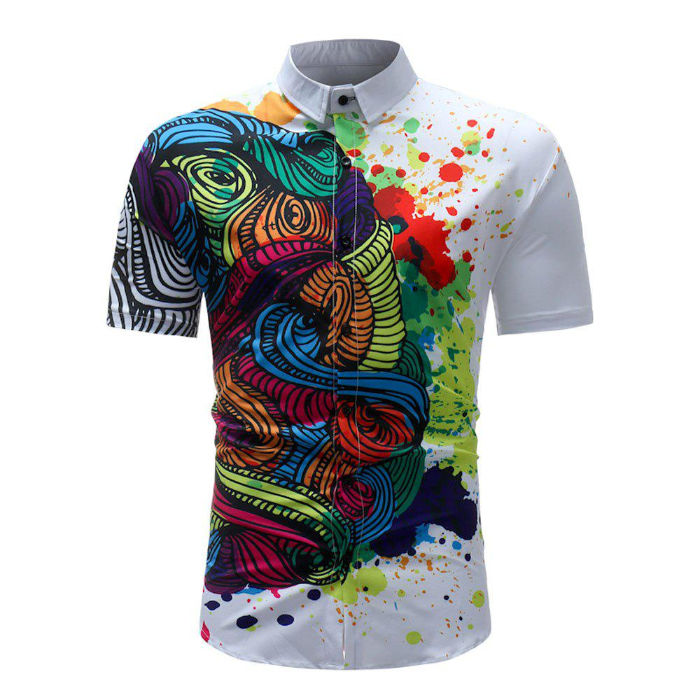 Men's Summer 3D Printed Short Sleeve Unique Flower Shirt - multicolor A 3XL