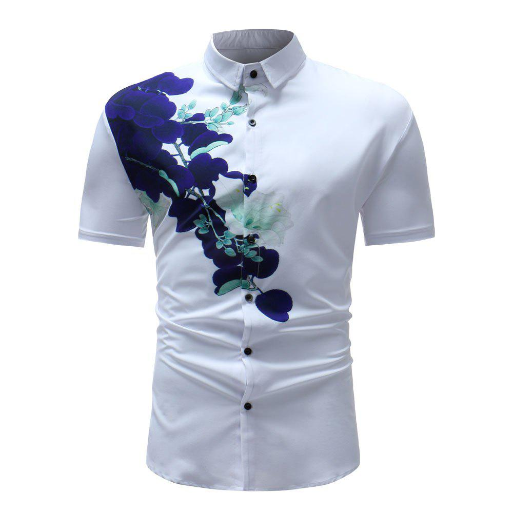 Men's Summer 3D Printed Short Sleeve Unique Flower Shirt - multicolor B 2XL