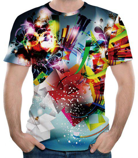 T-shirt à manches courtes 3D Summer New Net Cloth Printing pour hommes - multicolor 2XL