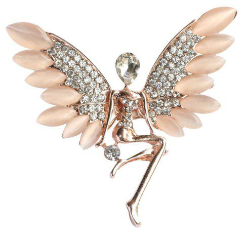 Elegant Angel Brooch Pins Metal Mosaic Clear Rhinestine and Opal - WARM WHITE