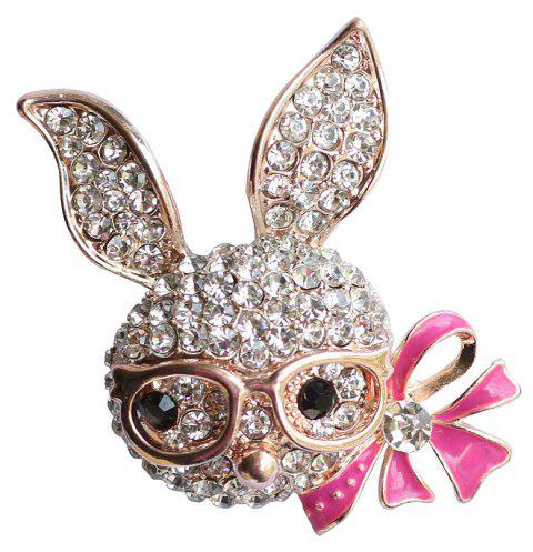 Women's Shiny Rhinestone Rabbit Brooch with Rosered Enamel Bow - GOLDEN BROWN