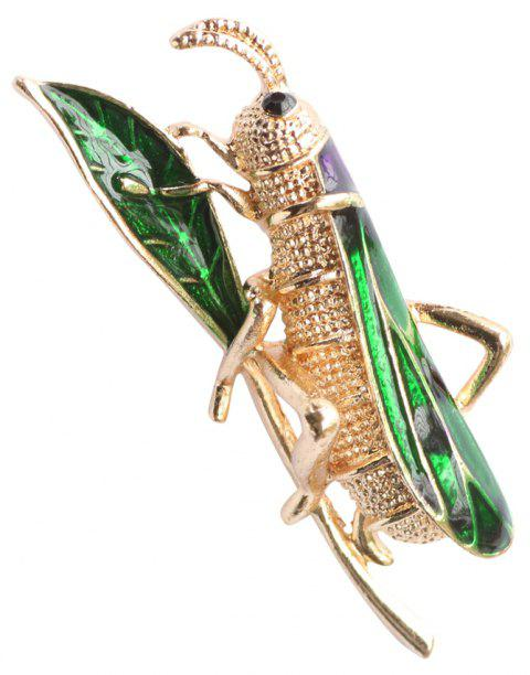 Unisex Green Enamel Leaf and Mantis Metal Brooch - GREEN