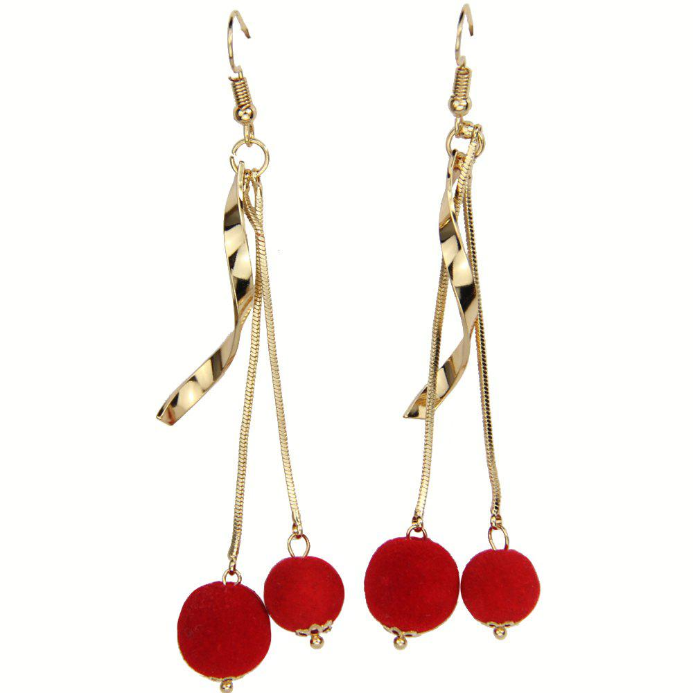 Spiral Bend Red Pompon Ball Earrings - RED