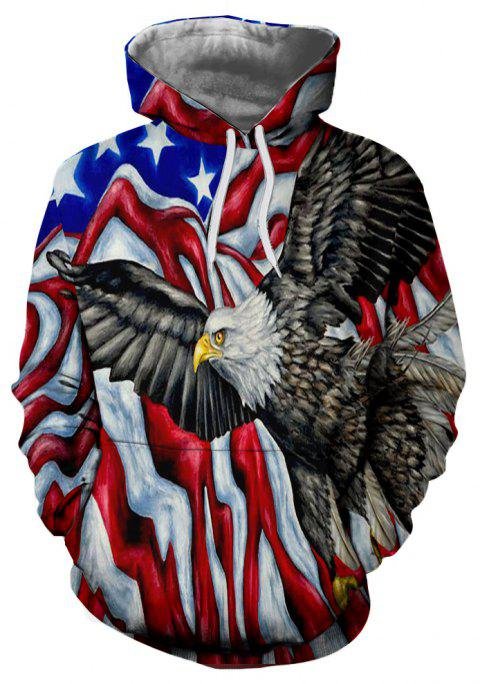 Winter New Fashion Eagle 3D Printing Men's Hoodie - multicolor L
