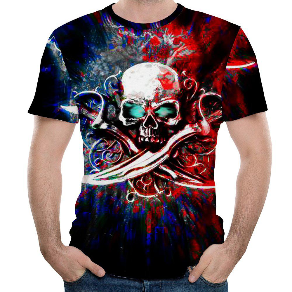 New Fashion Men 3D Printed Short Sleeve T-shirt - multicolor 2XL