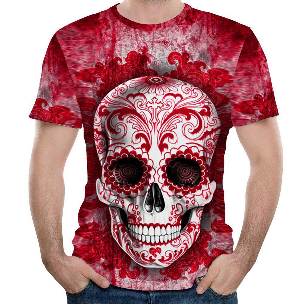New Fashion Casual Red Skull Head 3D Printed Men's Short Sleeve T-shirt mens casual 3d personality skull printing short sleeve t shirt cotton sport black tees